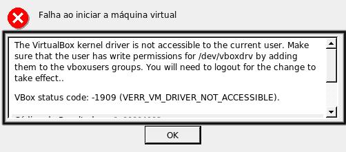 Erro se nao instalar o modulo vboxdrv