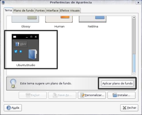 Aplicando o tema ubuntu studio.