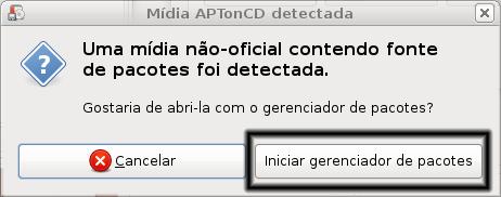 aptoncd, tela de reconhecimento do novo repositorio