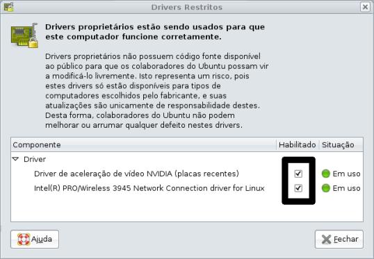 Habilitando os drivers restritos no Ubuntu