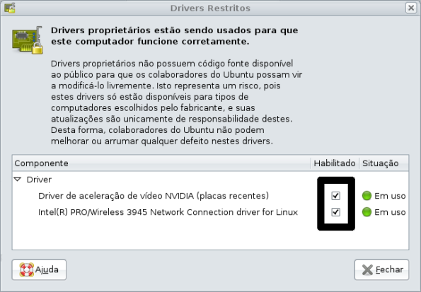 Habilitando os drivers restritos no Ubuntu Gutsy