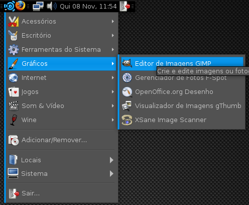 Novo menu no painel superior do gnome.