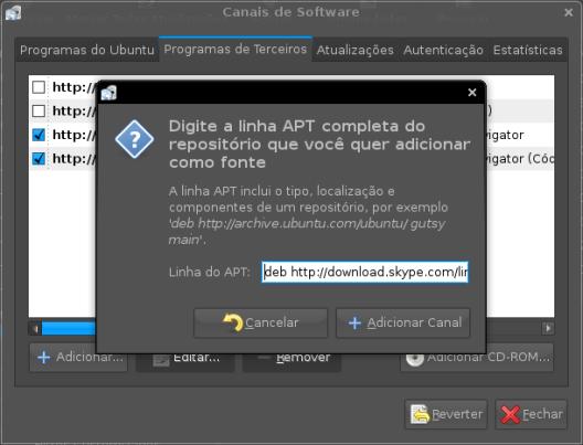 Adicionando o repositório para instalar o skype