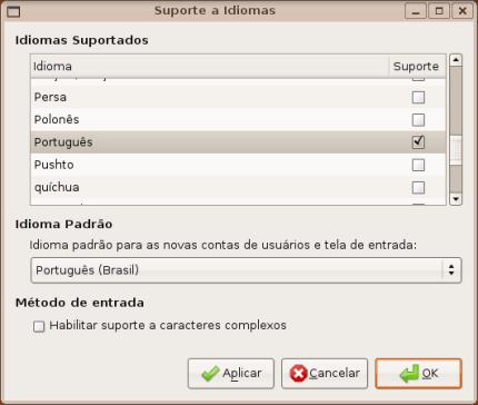 Completando o idioma 'português'.