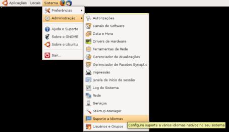 Sistemas->Administração->Suporte a idiomas