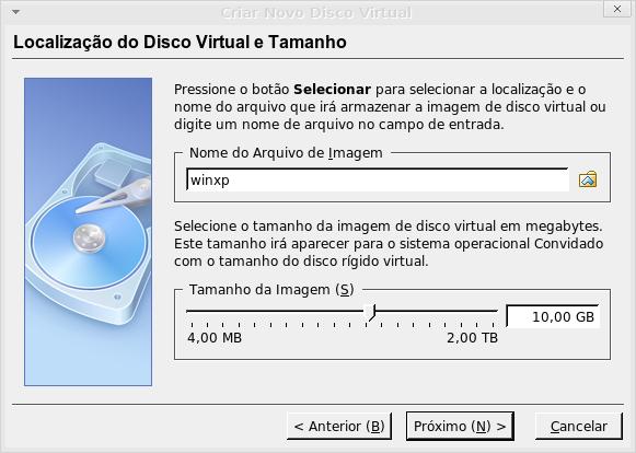 nome e tamanho do disco virtual