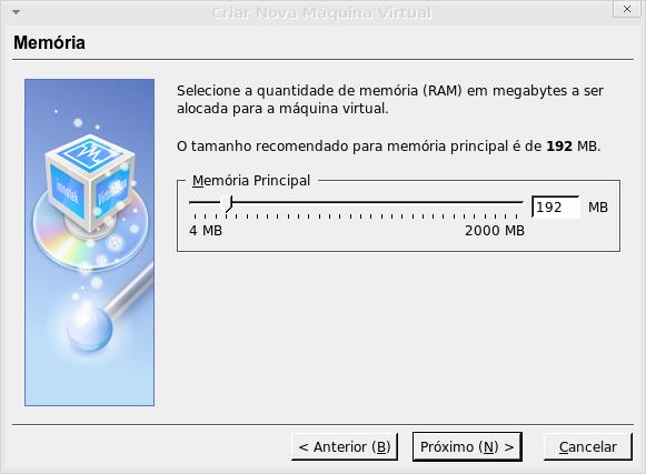 memória ram para a virtual machine