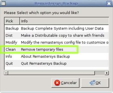 Limpando arquivos temporarios prévios