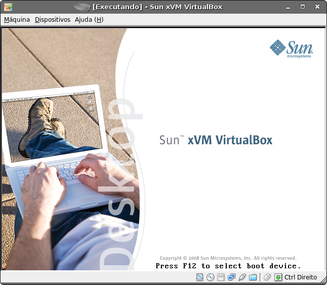 Tela de carregamento do VirtualBox