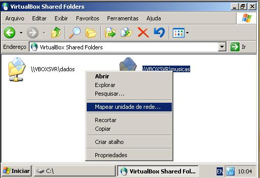 acessando pastas compartilhadas pela VM