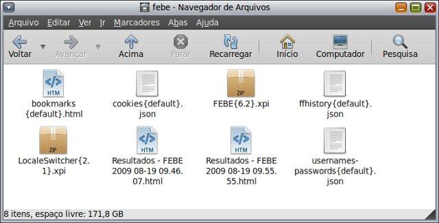 Arquivos de backup gerado pelo FEBE