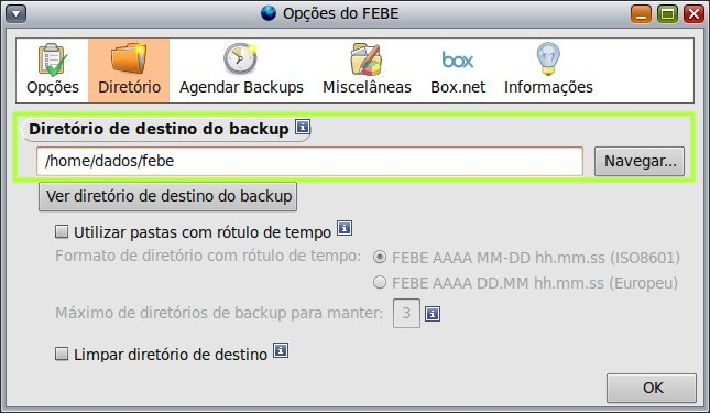 Febe : Destino do backup