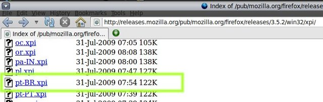 Firefox 3.5 - instalando o idioma portugues